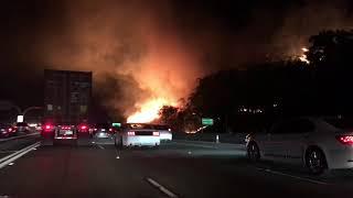 Corona California Canyon Fire 9/25/2017 91 Freeway by Green River exit