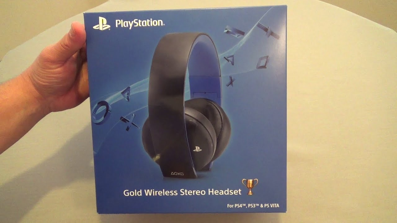 gold wireless stereo headset for ps4 ps3 psvita hands on youtube. Black Bedroom Furniture Sets. Home Design Ideas