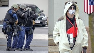 Man wearing hedgehog suit and fake bomb shot by Baltimore cops at Fox 45 TV station - TomoNews