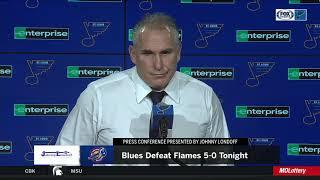 "Berube: Binnington ""did a good job of making the saves when he had to"" vs. Flames"