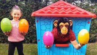 Learn Colors With Colored Eggs, Öykü and Cute Monkey - Funny Oyuncak Avı