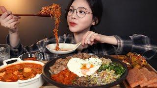 SUB)우삼겹 듬뿍 넣은 비빔밥에 김치돼지짜글이 먹방 ! (feat.스팸) 리얼사운드 Bibimbap kimchijjigae mukbang ASMR