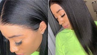Easy No Gel/Spray Affordable Glueless Natural Brazilian Yaki Straight Lace Wig Install  OMGQUEEN