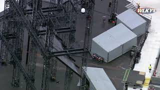 AERIALS: Setup underway for Taylor Swift concert