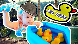 ✅KIDS GAME 💛💚 FIVE LITTLE DUCKS🦆TIMUR PLAYING IN FISHING🎣🎣