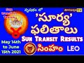 సింహరాశి | గొప్ప విజయాలు చూస్తారు | SUN TRANSIT RESULTS | వృషభ' రవి ' ఫలితాలు | YOGAMANJARI TV ||