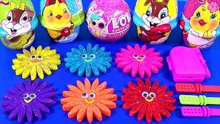 Making Glitter Ice Cream out of Play Doh Flowers Learn Colors LOL Surprise Yowie Little Pony Eggs