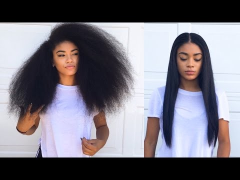 Curly to Straight Hair Tutorial (updated) - How to Get Rid of Frizzy Ends | jasmeannnn