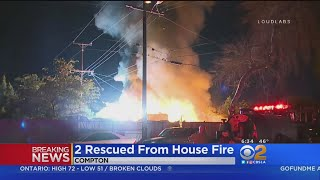 2 Hospitalized, 2 Dogs Dead After Compton House Fire