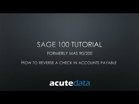 Sage 100 - How To Reverse a Manual Check