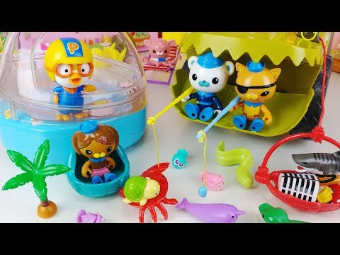 Octonauts octopode Turtles Exploration Vehicle and Sea creatures and Pororo house fishing toys play