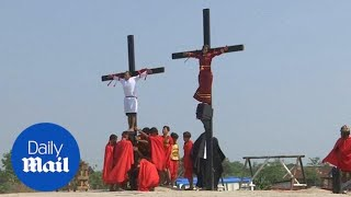 Catholic devotees crucified in the Philippines for Good Friday