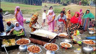 Village Style Chicken Fry - First Time Full Villagers Eating Crispy Fried Chicken