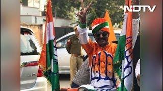 Congress workers celebrate in Jaipur, Rajasthan..