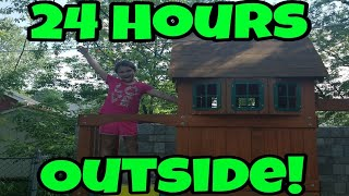 24 Hours Outside! 24 Hour Challenge In My Backyard!