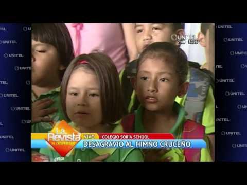 Colegiales entonan el himno a Santa Cruz como forma de desagravio
