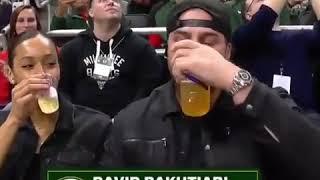 David bakhtiari chugs 2 beers while on the jumbotron