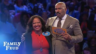 Mia monkeys around! | Family Feud