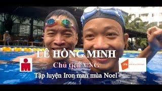 Lê Hồng Minh VNG tập luyện bơi lội Iron man