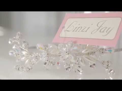 LINZI JAY Pearl Flower/Matt Diamante Hair Comb Ivory