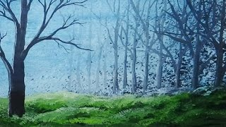 Acrylic Painting - Gesso and Colour Wash - Blue Forest
