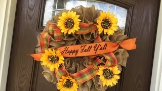 Fall Burlap Ruffle Wreath No Hot Glue 2015