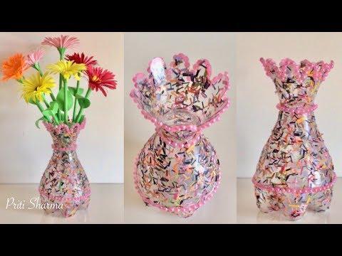 Best Out Of Waste Plastic Bottle Flower Vase / DIY / Plastic Bottle Flower Vase Made Of Plastic Bottle on animals made of plastic bottles, wall art made of plastic bottles, lamp made of plastic bottles, baskets made of plastic bottles,