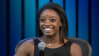 Olympian Simone Biles interviewed by Steve Carter at Willow Creek Community Church