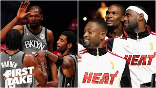 LeBron, D-Wade and Bosh or KD, Kyrie and Harden: Which Big 3 would win? | First Take