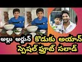 Allu Arjun son Ayaan fruit salad making video