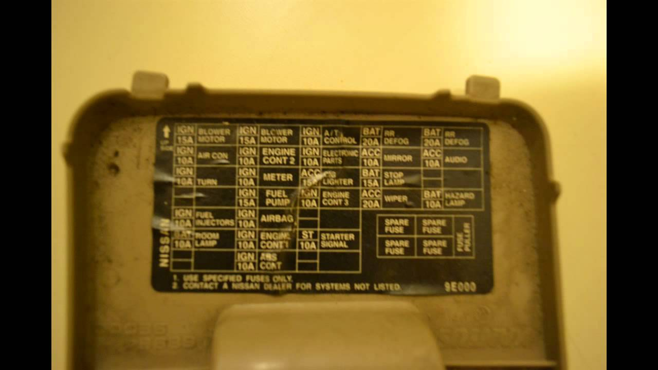 Nissan Altima 1998-2001 Fusebox Cover  Fuse Locations