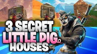 """Fortnite Battle Royale Season 6 Secret Houses!  """"The 3 Little Pigs And The Big Bad Wolf"""" Theme!"""