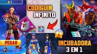 CODIGUIN INFINITO! INCUBADORA 3 EM 1, EVENTO COM ITEM RARO DE VOLTA? DIAMANTE ROYALE - FREE FIRE