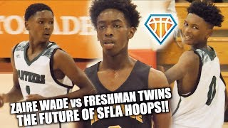Zaire Wade vs NASTY 6'4 FRESHMAN TWINS!! The FUTURE of South FL Basketball | Heritage vs Pine Crest
