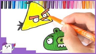 How to Draw ANGRY BIRDS Coloring Pages for kids Best Learning Video for Kids SQUARE BEAR TOYS