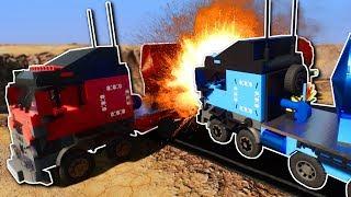 SEMI TRUCK CANYON CHALLENGE! - Brick Rigs Multiplayer Gameplay - Lego Semi Truck Race