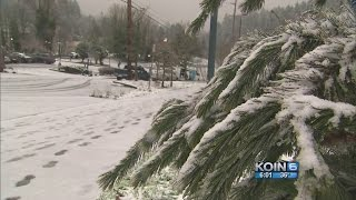 Portland metro gets snow, winter weather stays overnight