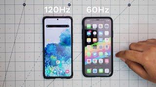 60Hz vs 120Hz  - iPhone 11 Pro Max vs Samsung Galaxy S20 Plus (Refresh Rate Explained)