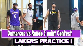 Lakers Practice Demarcus Cousins vs Rondo 3 point contest | Lebron and AD discuss last play