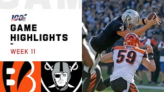 Bengals vs. Raiders Week 11 Highlights | NFL 2019