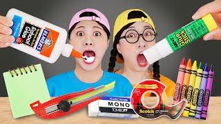 Fun Sneak Food DIY School Supplies Mukbang 학용품 먹방 DONA 도나