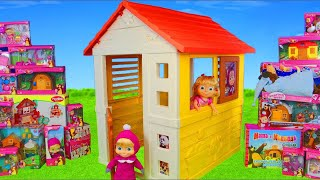 Masha and the Bear Unboxing: Playhouse, Dolls, Surprise Toy Vehicles & Kitchen for Kids