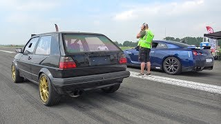 735HP VW Golf 2 R32 Turbo 4Motion vs Nissan GTR R35