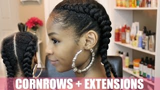Two Cornrows on Natural Hair + Extensions