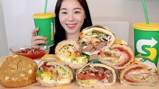 ASMR Subway Sandwich Mukbang 서브웨이 꿀조합 먹방🌯 에그마요 스테이크앤치즈 이탈리안 BMT 쿠키 다이어트 소스 추천 메뉴 ORDER RECIPE サンドイッチ