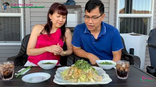 Ăn Gỏi Gà Tâm Sự Cơ Duyên Đến Canada | Cuộc Sống Canada 🇨🇦376》Eating Chicken Congee and Salad