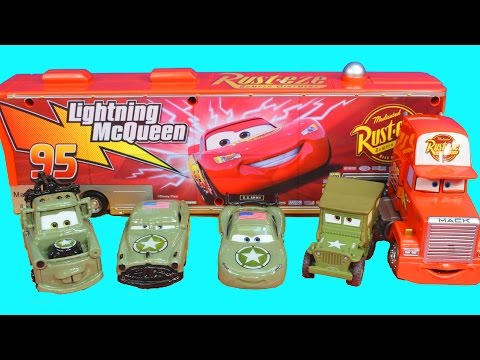 Disney Cars Pixar Army Car McQueen Mater Doc and Sarge Battle Imaginext Lemons Mission Complete