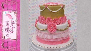 Pink & Gold Floral Birthday Cake