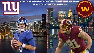 Washington Football Team Vs. New York Giants Live Play By Play & Reactions