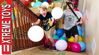 Moving Day Madness! Cardboard Box Balloon Slide Nerf Blast!